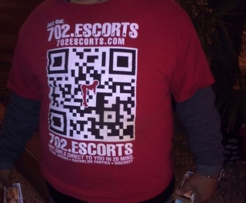 Escorts and QR Codes. Why not? We give him props for creativity!