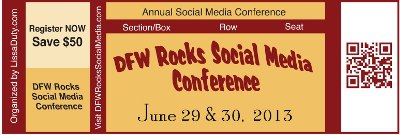 DFW Rocks Social Media Conference uses QR Codes  to get the word out.